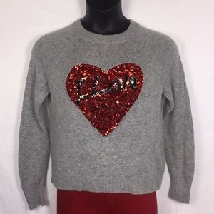 H&M I Love Sequin Heart Gray Sweater Size Small